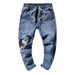 2019 mode männer hip hop streetwear blaue jeans haren hosen männliche jeans demin hosen männer lange hosen jogger plus größe von Fabrikanten