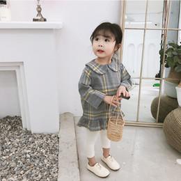 vestido lindo estilo coreano Rebajas 2019 nueva llegada de primavera estilo coreano de algodón A-line estilo a cuadros mini vestido a juego de moda para lindas niñas dulces