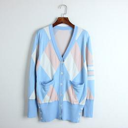 c96d0da91b 1128 2018 Sweater Autumn V Neck Long Sleeve Flora Print Fashion Blue Black  Luxury Womens Clothes Cardiagan Plaid Tassel DL