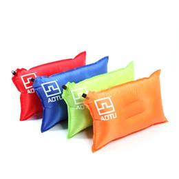 Bolsas de viaje verdes online-Al aire libre Automático Almohada Inflable Viaje Camping Saco de dormir Tienda Tienda Poliéster Cojines de fibra Azul Verde Rojo Sauce llorón 15 8atD1