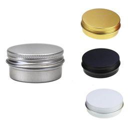 Weiße kappenschrauben online-1/2 Unze Aluminiumdose Gläser Schraubverschluss runde Lagerung kann Container kosmetische Metalldosen leeren Container 15ml Weißgold schwarz