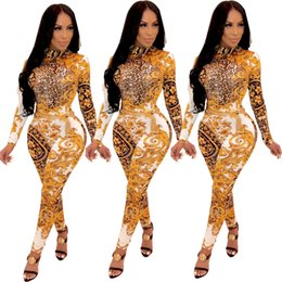 Back out jumpsuit spielanzug online-Floral Leopard Printing Frauen dünne Overalls mit langen Ärmeln High Neck aushöhlen zurück Nachtclub Bar Party Overalls Strampler fallen