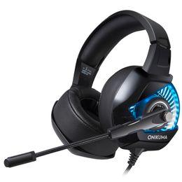 Headset-spieler online-ONIKUMA K6 Gaming Headset mit Mikrofon casque PC Gamer Bass Stereo Kopfhörer für PS4 Gamepad Xbox One Laptop Computer 1pcs / lot