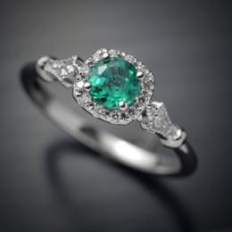 2019 anéis planos de prata 925 Sterling Silver Green Emerald Gemstone anel para as mulheres de turquesa jóias com diamantes biżuteria Gemstone 925 tira anéis de diamante