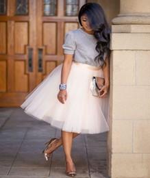 Faldas bajo la rodilla online-La moda Color mini falda Mujeres Niñas Bajo Rockabilly de la enagua de tul tutú longitud de la rodilla del ventilador baile de disfraces