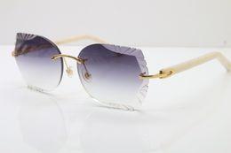 Brazos de gafas de sol online-Envío gratis gafas de sol talladas lentes de lentes 8200762 sin montura blanco azteca negro azteca armas gafas de sol casos de madera bolsa de cuero caja de papel de regalo