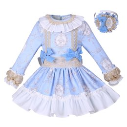 Vêtements de boutique pour les enfants en Ligne-Pettigirl New Blue Flower Girls Dress Robe de Princesse Solide Avec Bowtie Boutique Printemps / Automne Enfants Designer de Vêtements G-DMGD008-A156