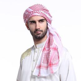Weißer schwarzer karikaturhut online-Muslim Arab Hijab Männer Rot Schwarz Weiß Plaid Hut Kopf Baumwolle Abdeckung Wrap Turban Schal 140 * 140 cm Islamische Männer Traditionelle Kostüme