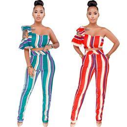 2019 короткая сексуальная часть 2019 Summer Striped One Shoulder Two Piece Set Women Strapless Crop Top Pencil Pants Sexy Suits Short Sleeve Outfits скидка короткая сексуальная часть