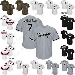 anderson grau Rabatt 2019 Chicago 7 Tim Anderson Trikot White Sox Trikots Cool Base Flexbase Heim Auswärts Weiß Schwarz Rot Grau Pullover Knopf Männer Frauen Jugend