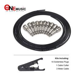 DIY Pedal de guitarra Cable de parche Sin soldadura Tablero del pedal Juego de cables de cobre 10ft 10 Estrecho Audio Sin soldadura 6.35 Mono enchufes para Pedal de efecto desde fabricantes