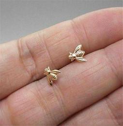 2019 pendientes de imitación de enchufe 2.019 Oro lindo minúsculo joyería del pendiente de abeja / plateado miel de abeja pendientes del perno prisionero de las mujeres únicas de joyería