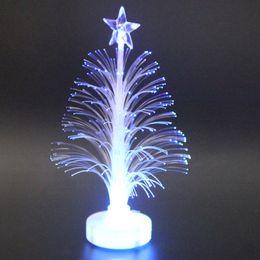 Mini luz de fibra on-line-Árvore de Natal colorida do Light-up do diodo emissor de luz da fibra óptica mini com LAD-venda a pilhas da estrela superior