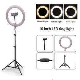 "Foto video trípode online-10 ""Dimmable LED Studio Camera Ring Light Photo Teléfono móvil Video Lámpara anular 110cm Trípode Carga USB"