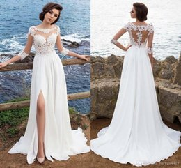 1aa96145eb1 A Line Beach Wedding Dresses Scoop Illusion Lace Applique 3 4 Long Sleeves  Backless Side Split Chiffon Bohemian Summer Bridal Gowns