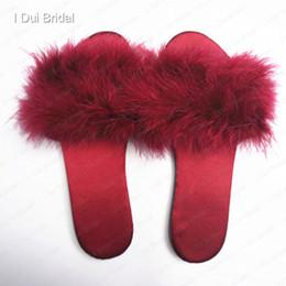 Свадебный перо тапочки свадебный аксессуар бордовый красный атласная ткань высокое качество свадебная обувь пижамы партия перо слайды обувь от