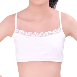 lace undershirts Coupons - Cotton Teenager Girls Vest Solid Color Lace Bra Wireless No Padding Camisole Sport Underweart Girls Undershirts Teenager Tank