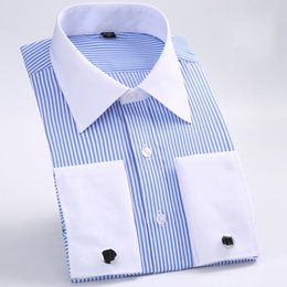 white cotton prom dresses Promo Codes - New Style Cotton White Men Wedding Prom Dinner Groom Shirts Wear Bridegroom Man Shirt Classic Striped Men Dress Shirts