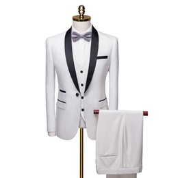 men s light gray suits Promo Codes - 2019 Mens Tuxedo Suit 3 Piece Set White Blue Red Asia Size s-6xl Men Blazer WL