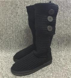 2020 botas de punto gris para las mujeres Botas de diseñador Botas de nieve para mujer Estilo australiano Tejido de invierno Botas largas de invierno Marca Ivg Negro Gris Tamaño de mujer botas de punto gris para las mujeres baratos