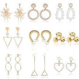 1 paire de mode de luxe femmes géométrique strass complète diamants perles boucles d'oreilles oreille Stud or ? partir de fabricateur