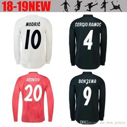 8eb29be67ca 18 19 Real Madrid Player version Long Sleeve Champions League Soccer Jersey  2019 Home RAMO KROOS ISCO ASENSIO MODRIC MARCELO football shirt