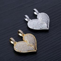 Coppie rotte del cuore pendente online-Coppia di ciondoli con cuori spezzati Collana con ciondolo di cuori spezzati Collana in argento dorato con zirconi cubici