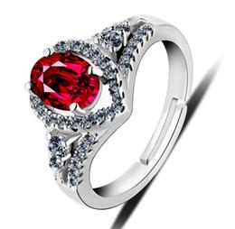 2019 оптовые кольца стерлингового серебра Рубиновые кольца реального стерлингового серебра 925 CZ имитация Алмаз Циркон Красный Корунд камень обручальное кольцо для женщин