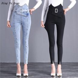 Ceinture bleu en Ligne-Black Blue Stretch Slim Jeans pour les femmes taille haute Crayon Pantalon Jeans Ladies Street Style Jeans Pantalons skinny avec ceinture