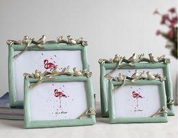marcos de grabación Rebajas Grano de madera de resina creativa marco de fotos art set tres aves marco de fotos hermoso registro envío gratis