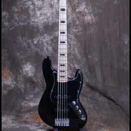 Elétrico, jazz, baixo, corda on-line-Starshine 5 Cordas Elétrica Jazz Bass Guitar Preto Brilhante Tinta Cor Canada Maple Hardstock Basswood Corpo