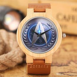 Star Trek Montre En Bambou Bleu Rocket Dial Casual Hommes Femmes En Bois Montre-Bracelet Meilleur Grands Fans Cadeaux Adolescents Étudiants Horloge En Bois ? partir de fabricateur