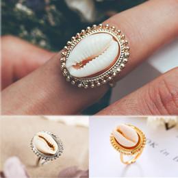 anéis boêmios antigos Desconto Bohemian Antique Gold Shell Anel Summer Beach Conch Anel de Dedo Para As Mulheres Menina Encantador de Metal Dedo Anel de Jóias Acessórios