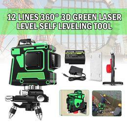 12 Linhas 3D Nível de Laser Verde 360 Graus Auto Nivelamento Ferramenta Horizontal Vertical Cruz Osciloscópio Alta Precisão Conjuntos de Ferramentas Novo de