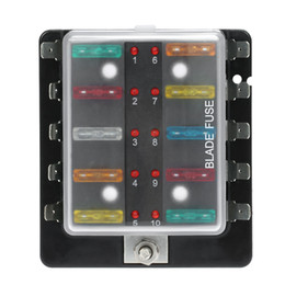 Argentina Freeshipping 10 Way Blade Fuse Box Holder con kit de luz de advertencia LED para auto barco Trike marino 12V 24V Suministro