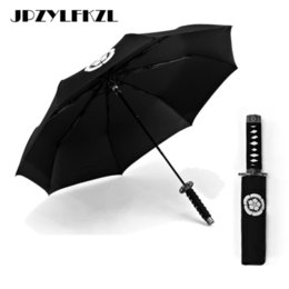 cuchillos samurai Rebajas Creativo Japonés Samurai Ninja-como Espada Daga Forma Paraguas Mango Corto Negro Lluvia Sol Cuchillo plegable Tres Paraguas Plegable