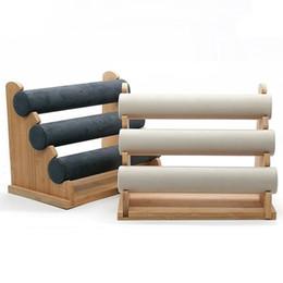 Top de bambu de três camadas pulseira relógio exibe carrinho pulseira relógio colar cabeça corda rack de armazenamento anel de cabelo exibe jóias de