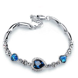 Herzförmiges diamantarmband online-Herz des Ozeans Love Heart Shaped Heart Zirkon Kristall Diamant Armband Mode-Armband