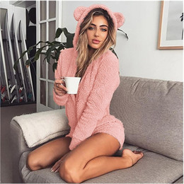 2021 pigiama in pile di un pezzo  Nuovo inverno caldo Pigiama Kigurumi per adulti con coniglio con cappuccio Ear Fleece Onesie Donne One-Piece Animal Tangsuit Pigiama per adulti