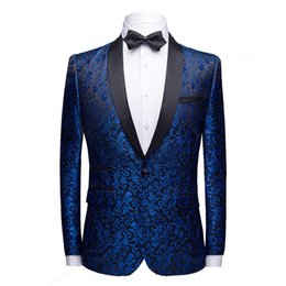 Il rivestimento del mens adatta i sequins online-Royal Blue One Button collo a scialle con paillettes Giacca da uomo Nightclub Party Prom SuitsBlazer Mens DJ Stage Clothers for Singers
