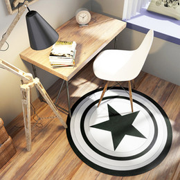 alfombras redondas negras Rebajas Decoración del hogar Escudo Alfombra redonda Alfombras y Alfombras Negro Cinco Estrellas Dormitorio Sala de estar Alfombra Creativa