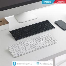 New Rapoo E9300 Bluetooth + 2.4G Multi-Media Ultra-fino Mini teclado sem fio Base de Metal One Key comutação Laptops Desktops PC de