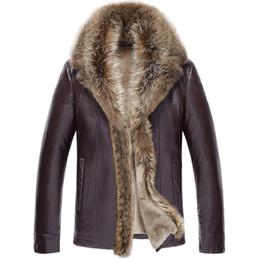 Chaqueta informal de negocios online-Los hombres de negocios de cuero chaqueta de la capa de piel de doblado cuello de piel masculina sólido de color cálido invierno espesa la chaqueta de cuero Casual Outwear