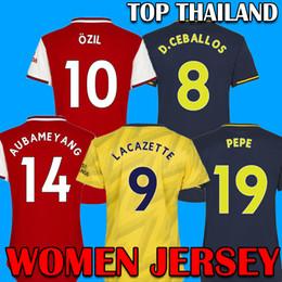 Футбол джерси набор желтый красный онлайн-2019 2020 Arsenal Soccer Jersey Красные трикотажные изделия футбола 19 20 Арсена брачное Away желтые рубашки 2019 наборы 2020 Женщины футбол Джерси