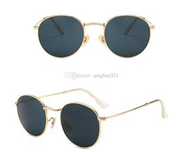 blue sun glasses polarized Promo Codes - 2019 New fashion high quality retro designer men and women brand sun glasses golden frame brown 50mm glass lens UV400 protection with box.