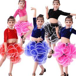 Vestiti da ballo latino online-Vestito da ballo latino per bambini Costume da competizione per competizione Costume da bambina carino da ballo latino gonna da ballo per bambini vestiti da discoteca