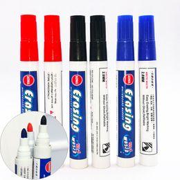 Черная стираемая ручка онлайн-Черный красный синий стираемые доски ручки Office School Point 0.1 дюймов гладкие ручки для письма доски стираемые маркеры ручка DH1326 T03