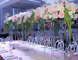 flores de cristal para casamento Desconto Wedding Porps Acrílico Flower Stand vaso de cristal transparente de carga de chumbo Tabela quadro Center Candle Holder Decoração