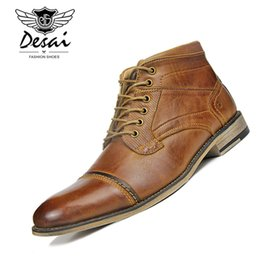Zapatos de terciopelo marrón cordones online-Botas Martin para hombre Botas de cuero genuino Plus Terciopelo Business Casual Zapatos altos Hombres con cordones Zapatos Oxford de gran tamaño Marrón