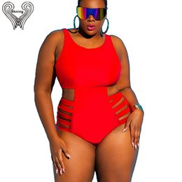 9284d1a1ef strappy monokini Promo Codes - Plus Size Swimsuit Push Up Swimwear Women  Bandage Bathing Suits Strappy